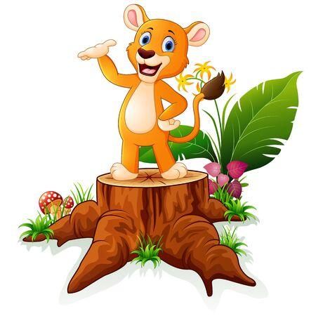 tree stump: Cartoon baby lion presenting on tree stump