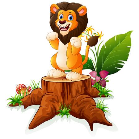 tree stump: Cartoon lion posing on tree stump