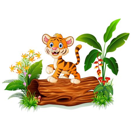 tigre bebe: tigre lindo bebé que presenta en el tronco de un árbol Vectores