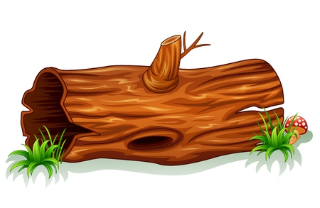 wood grass: Illustration of a tree trunk with mushroom Illustration