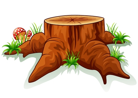 Illustration of tree stump and mushroom