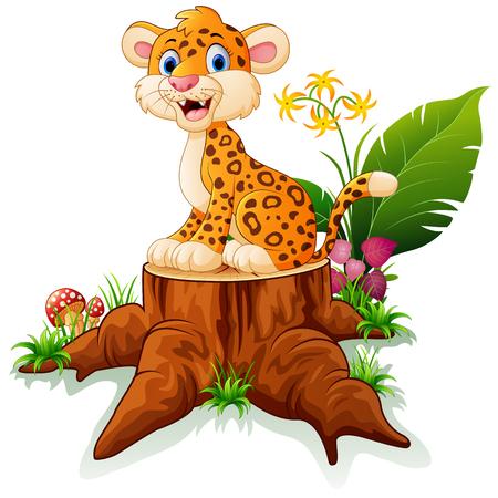 만화 치타 나무 그 루터기에