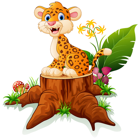 cheetah cartoon op boomstronk