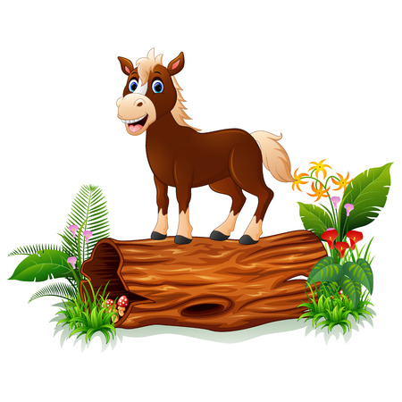 Cartoon baby horse on tree trunk
