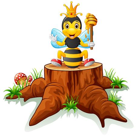 tree stump: Cute bee posing on tree stump Illustration