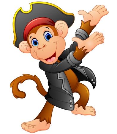large skull: Cute pirate monkey presenting