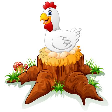 hen brooding her egg on the stump