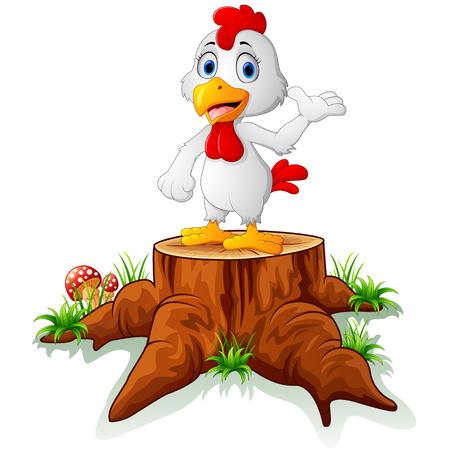 tree stump: Cute hen posing on tree stump