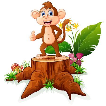 tree stump: Cartoon monkey posing on tree stump
