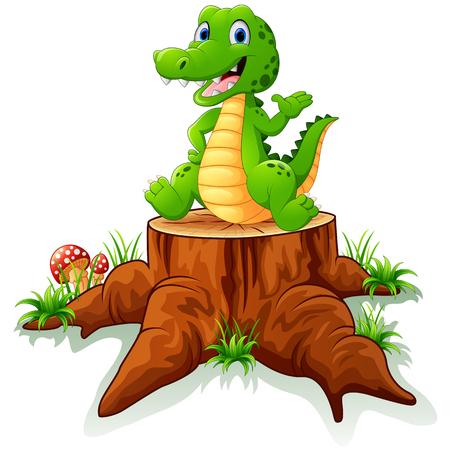 tree stump: Cute crocodile posing on tree stump Illustration
