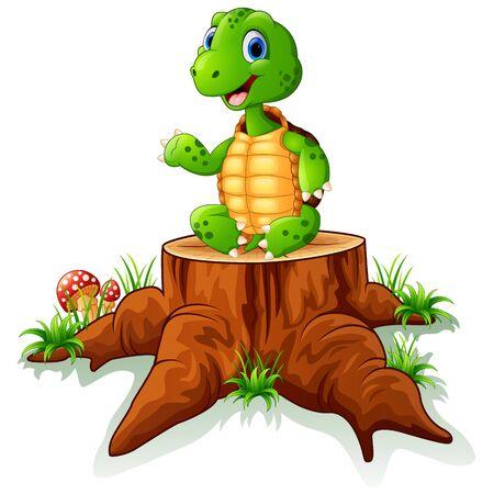 tree stump: Cute turtle sit on tree stump