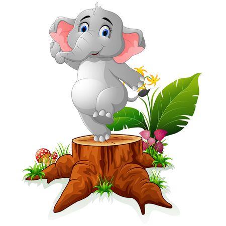 tree stump: Cartoon funny elephant posing on tree stump Illustration