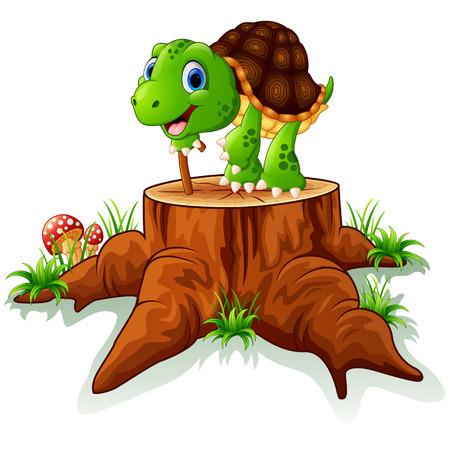tree stump: old turtle posing on tree stump