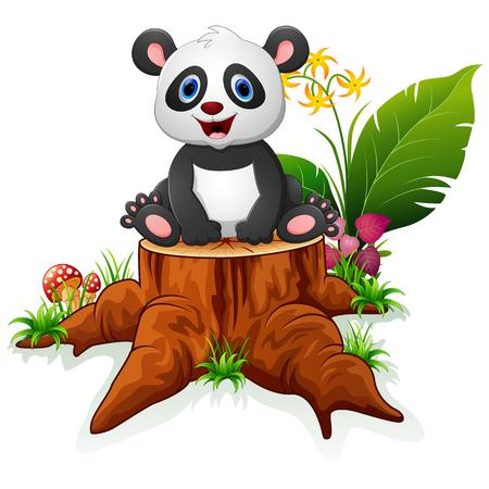Cute panda sit on tree stump