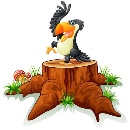 tree stump: Cartoon toucan on tree stump Illustration