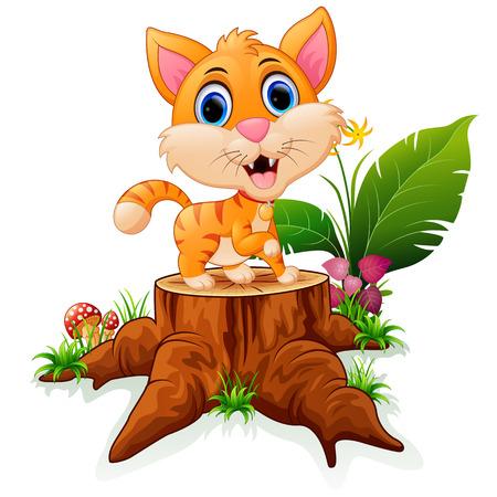 tigre bebe: Historieta del tigre de bebé divertido que se presenta en tocón de árbol Vectores