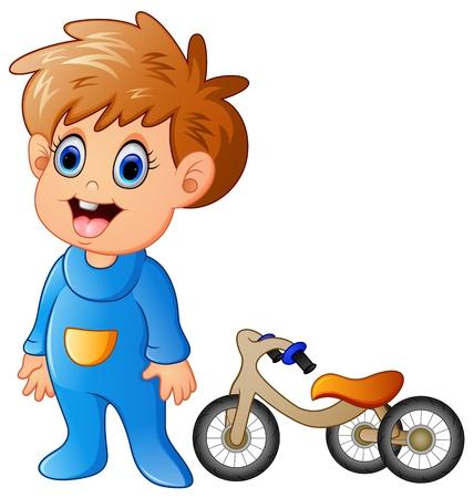 zapatos caricatura: El niño pequeño con su bicicleta