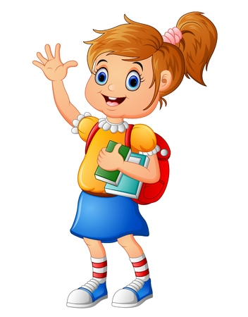 cheerfully: School girl waving hand