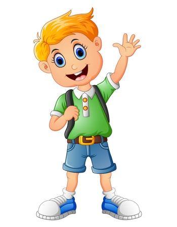 cheerfulness: School boy waving hand