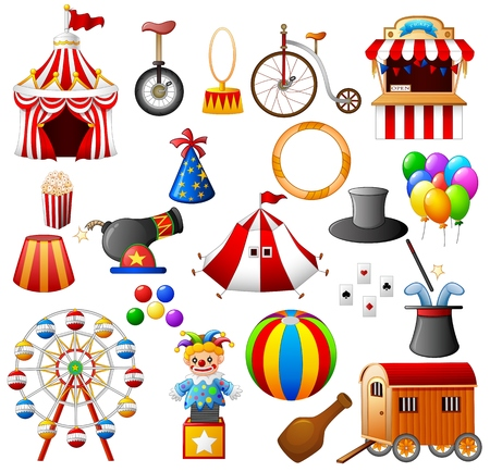 cartoon carnival: Circus equipment collection set Illustration