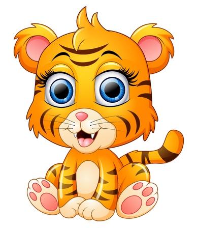 tigre bebe: historieta del tigre de bebé lindo Vectores