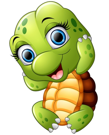 Cute turtle cartoon isolated on white background