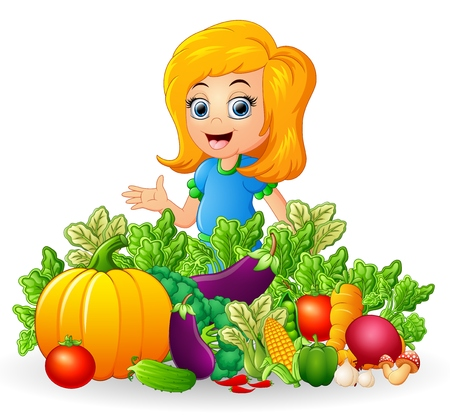fruitage: Little girl with fruits and vegetables