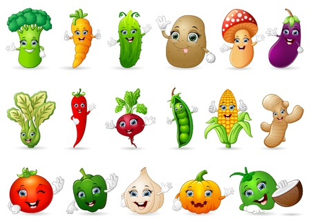 Funny various cartoon vegetables