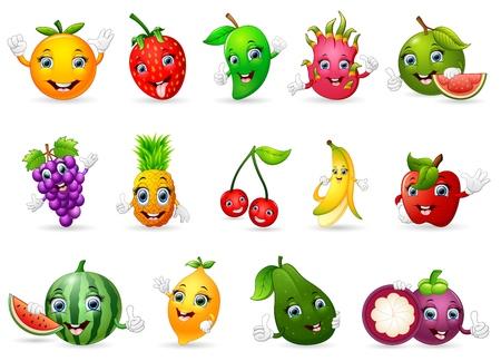 limon caricatura: frutas de la historieta divertida Vaus Vectores