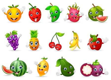 guava fruit: Funny various cartoon fruits