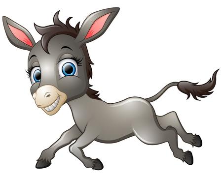 jackass: Happy donkey cartoon running Illustration