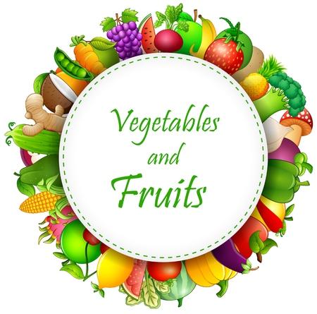 Ilustración de las frutas y hortalizas
