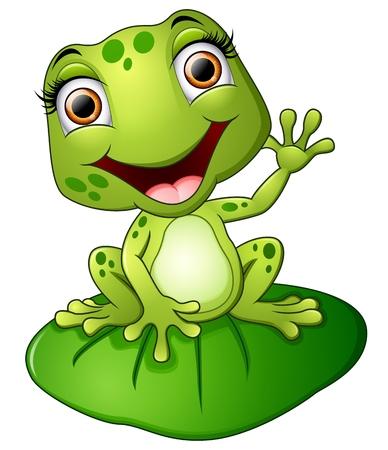 Cartoon siedzi żaba na liściu