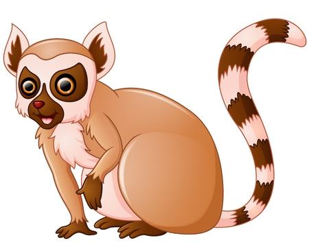 cuddling: Cute lemur cartoon Illustration