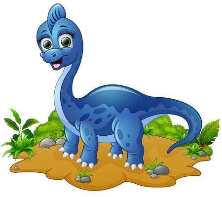 Cute blue dinosaur cartoon Çizim