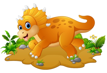 triceratops: Cute and young cartoon triceratops
