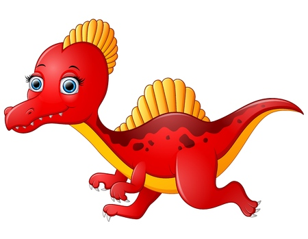 behemoth: Cartoon red spinosaurus isolated on white background Illustration