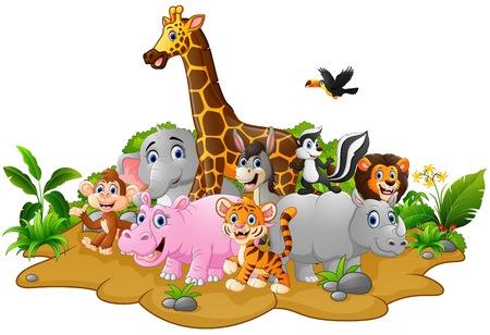 Cartoon wilde dieren achtergrond