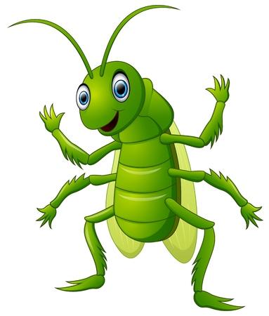 grig: Happy grasshopper cartoon waving hand Illustration