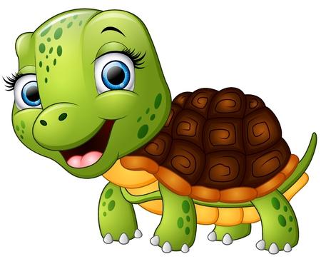 Gelukkig schildpadbeeldverhaal dat op witte achtergrond wordt geïsoleerd