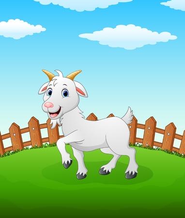Happy lamb cartoon on the field Illustration