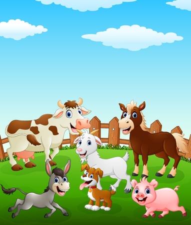 Farm animal cartoon on the field