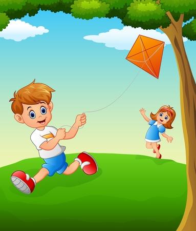 happy kids: Happy kids playing kite