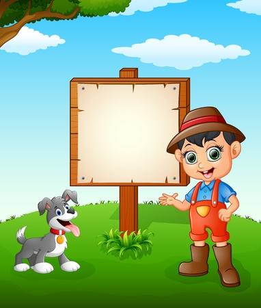 farmland: Farmer cartoon on farmland with blank sign