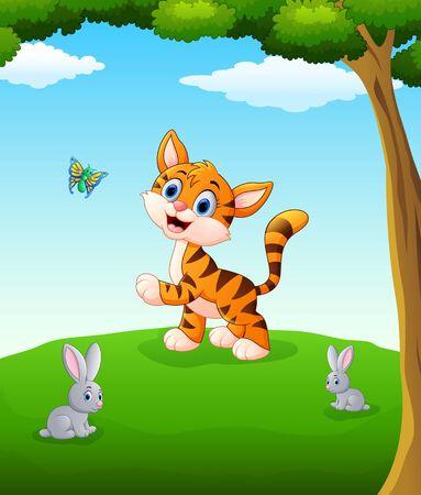 animales de dibujos animados feliz en el campo Vectores