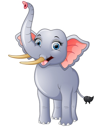 Happy elephant cartoon isolated on white background Stock Photo