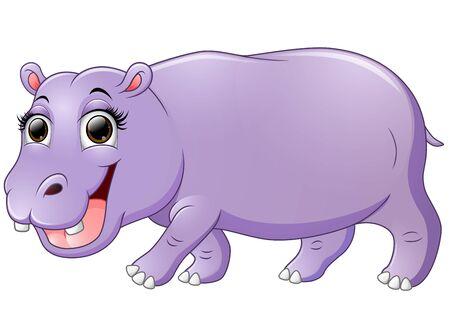 hipopotamo caricatura: Feliz hipop�tamo de dibujos animados caminar Foto de archivo