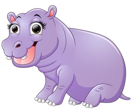 hipopotamo caricatura: Hipopótamo feliz de estar de dibujos animados