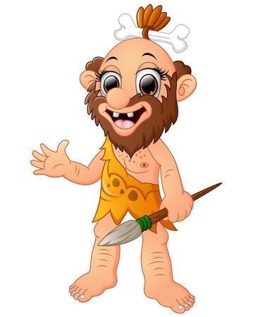 Happy cavemen cartoon presenting