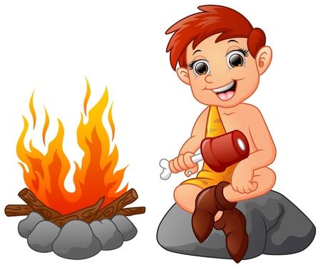 Cavemen Cartoon sitzt isoliert auf weißem Hintergrund